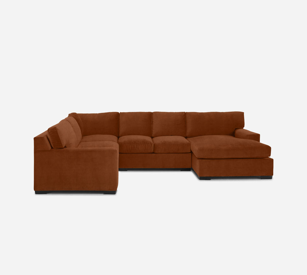 Kyle RAF Chaise Corner Sectional - Passion Suede - Rust