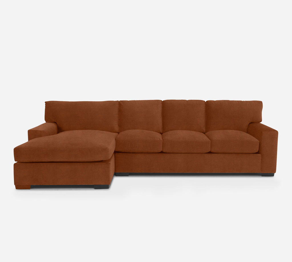 Kyle RAF Sectional Sofa w/ Chaise - Passion Suede - Rust