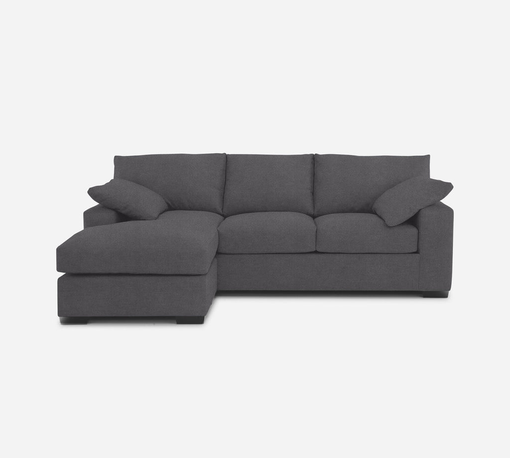 Kyle Sofa with Chaise- LHF - Passion Suede - Charcoal