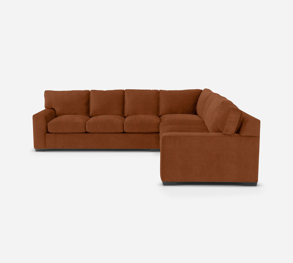 Kyle Large Corner Sectional - Passion Suede - Rust