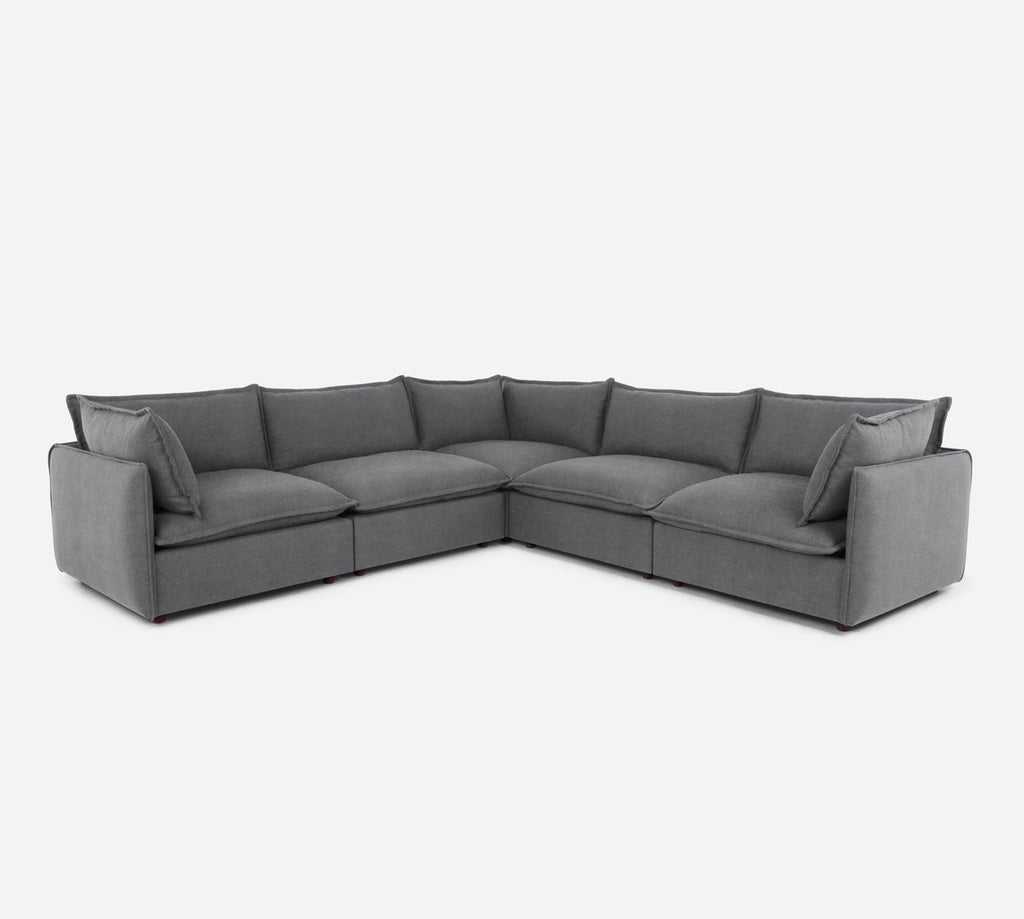 Lova Corner Sectional - Passion Suede - Charcoal