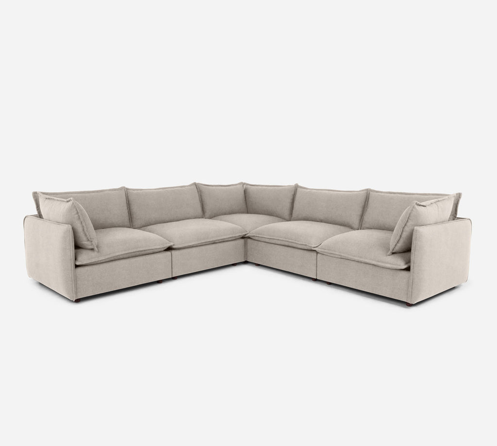 Lova Corner Sectional - Passion Suede - Oyster