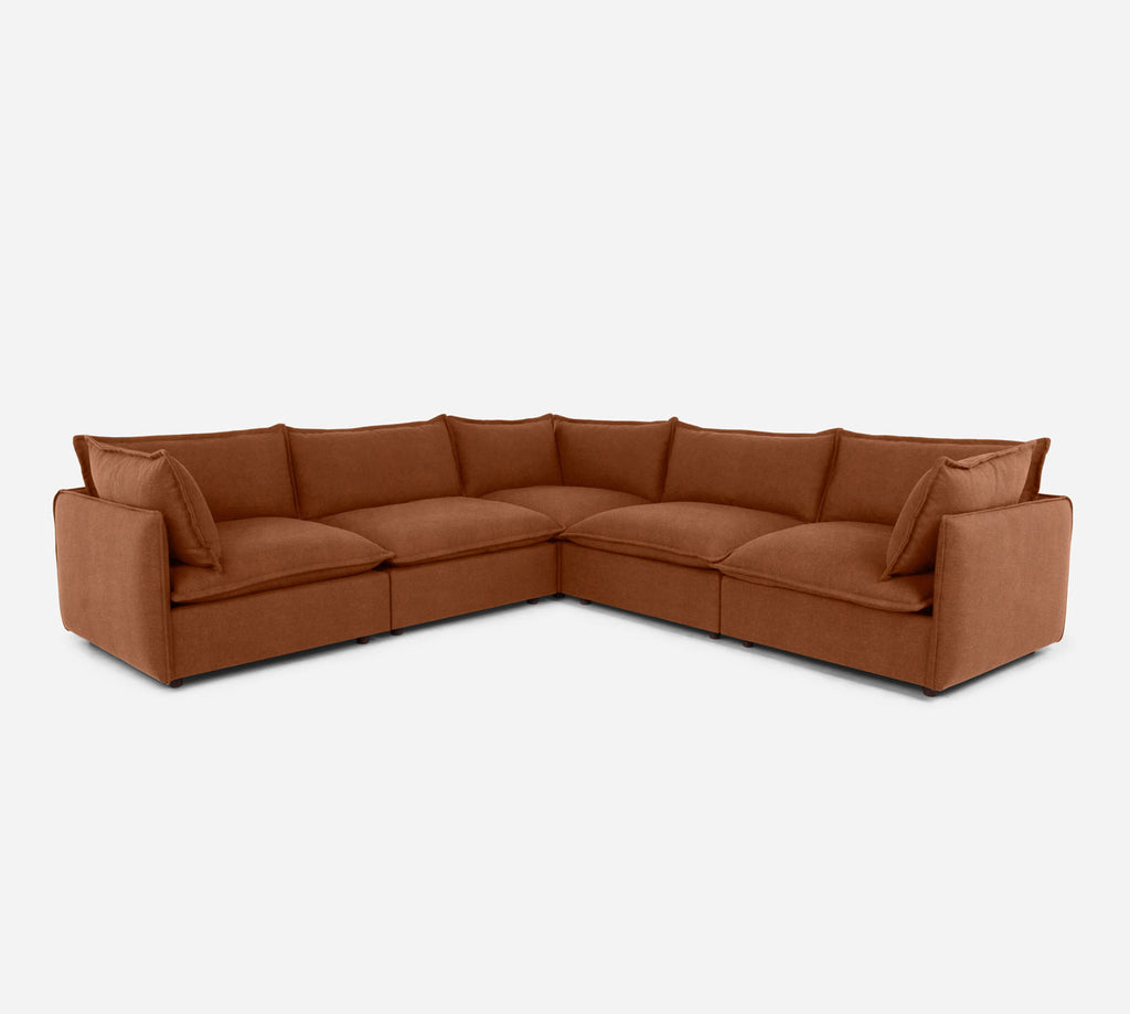 Lova Corner Sectional - Passion Suede - Rust