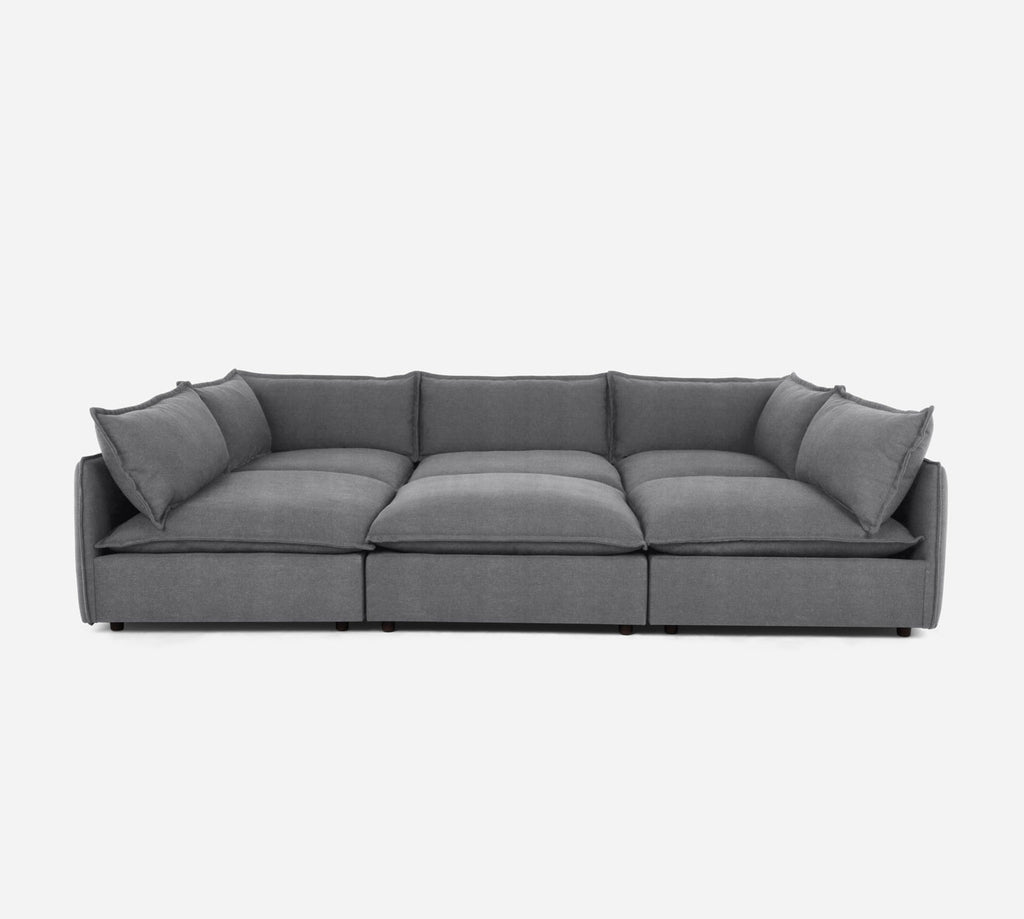 Lova Conversation Pit - Passion Suede - Charcoal