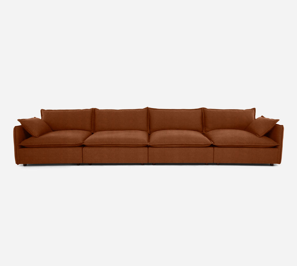Lova 4 Seater Sectional - Passion Suede - Rust