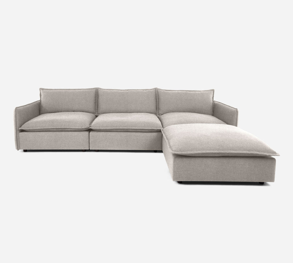 Lova 3 Seater Sectional w/ Ottoman - Coastal - Sand