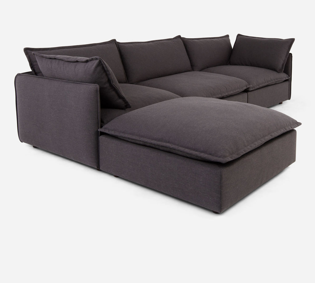 Lova 3 Seater Sectional w/ Ottoman - Heritage - Charcoal