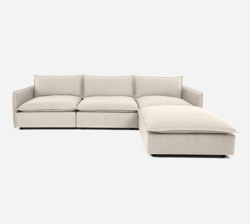 Lova 3 Seater Sectional w/ Ottoman - Kenley - Canvas