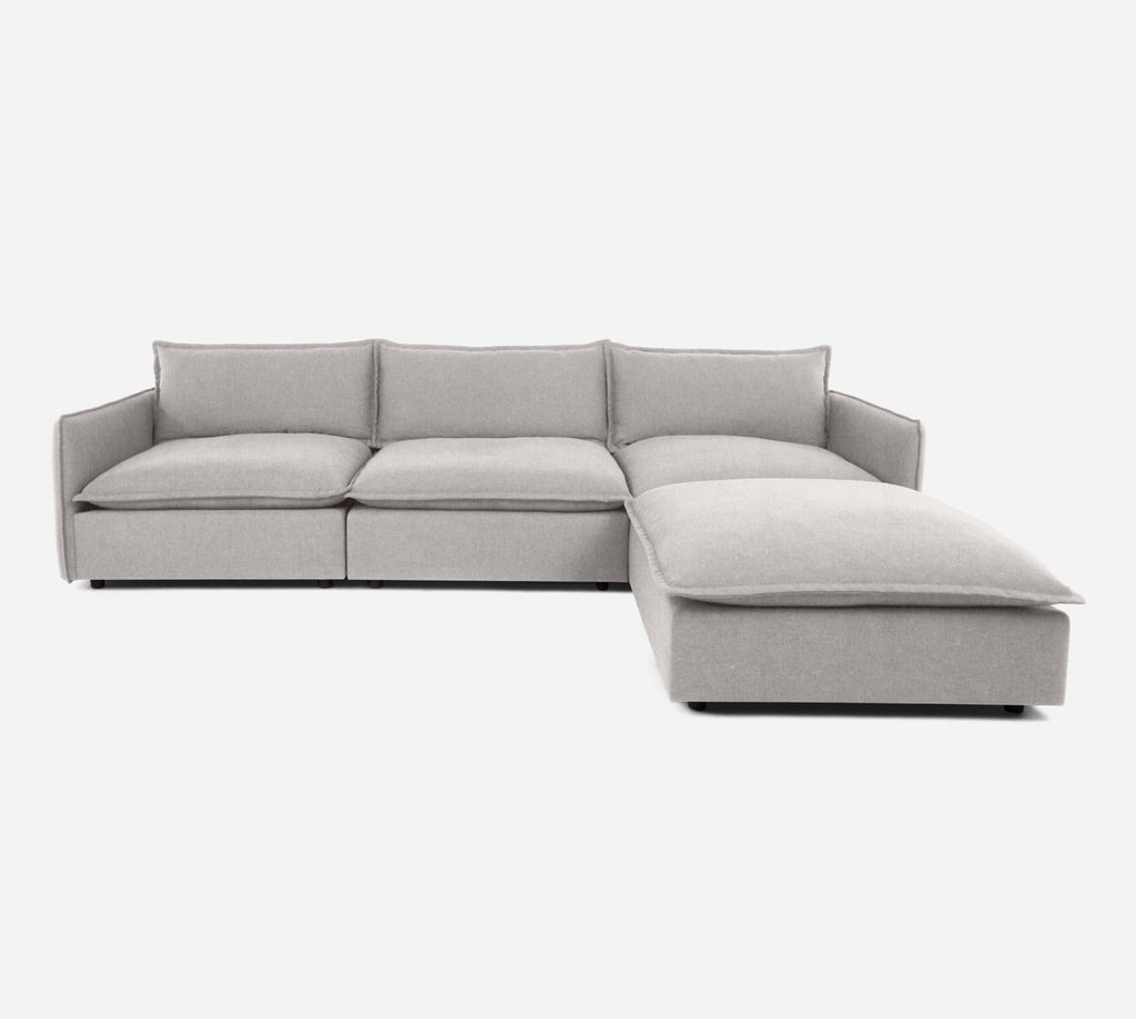 Lova 3 Seater Sectional w/ Ottoman - Kenley - Moondust