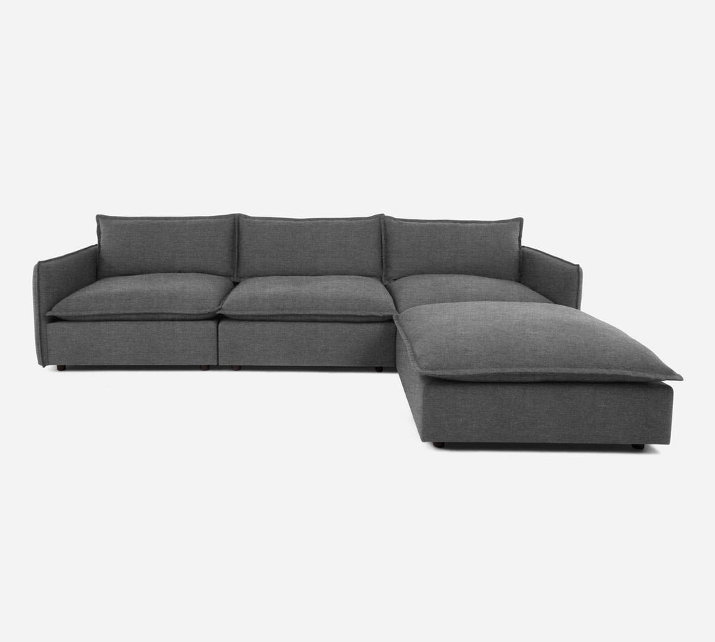 Lova 3 Seater Sectional w/ Ottoman - Key Largo - Ash