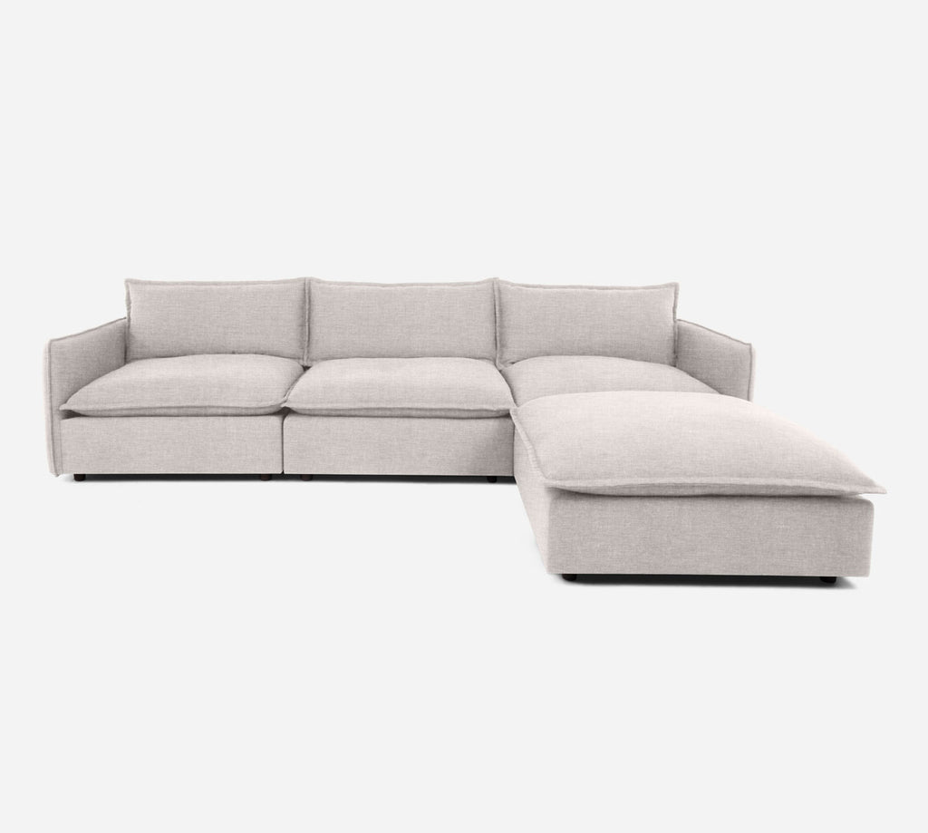 Lova 3 Seater Sectional w/ Ottoman - Key Largo - Oatmeal