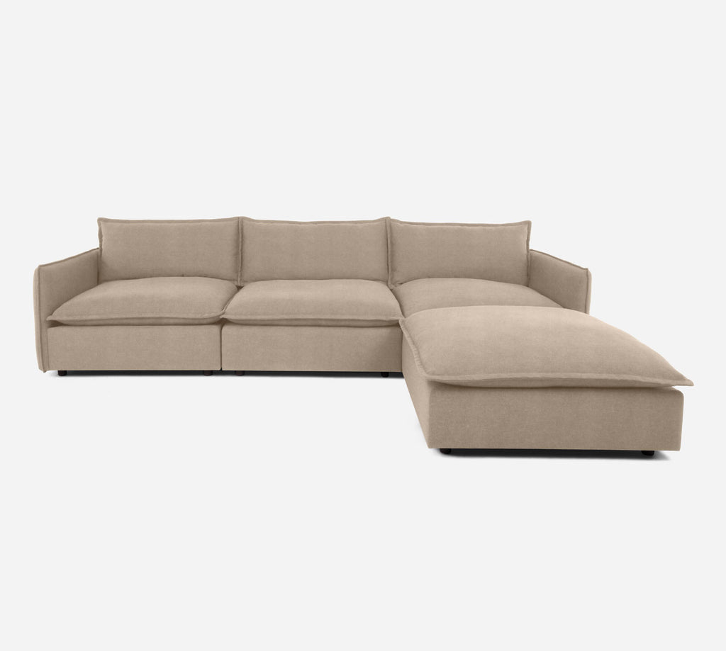 Lova 3 Seater Sectional w/ Ottoman - Passion Suede - Camel