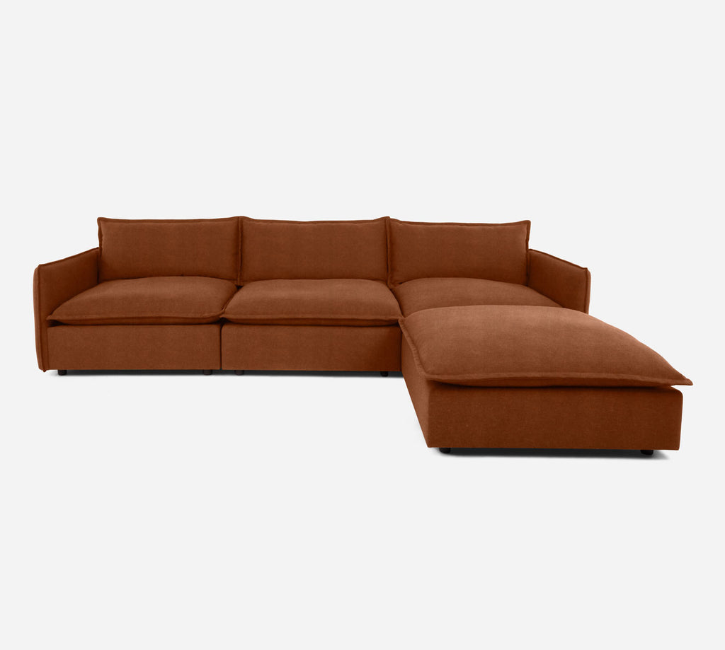 Lova 3 Seater Sectional w/ Ottoman - Passion Suede - Rust