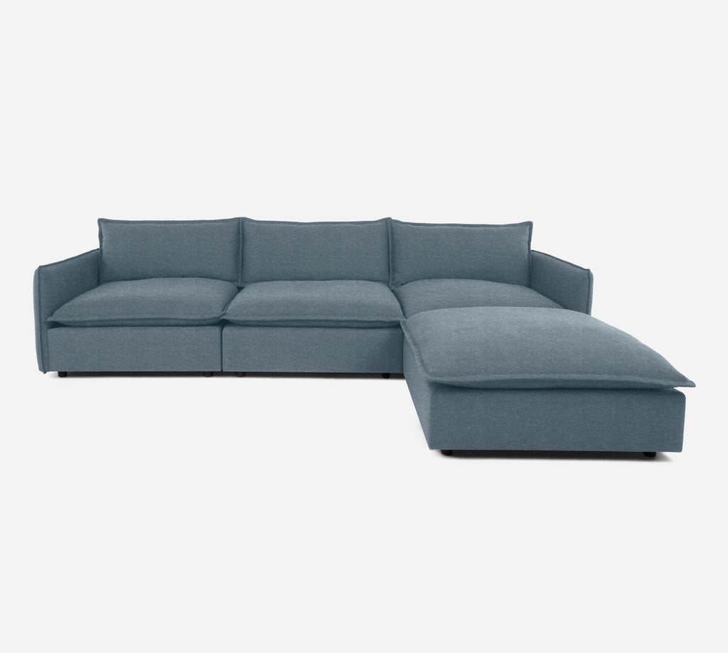 Lova 3 Seater Sectional w/ Ottoman - Stardust - Lapis