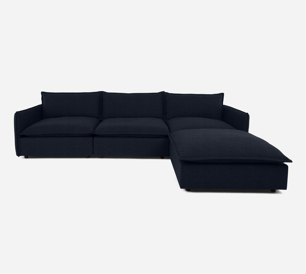 Lova 3 Seater Sectional w/ Ottoman - Stardust - Midnight
