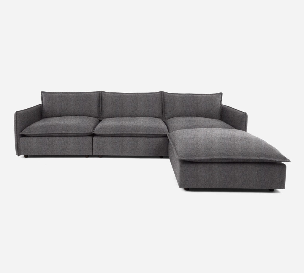 Lova 3 Seater Sectional w/ Ottoman - Theron - Concrete