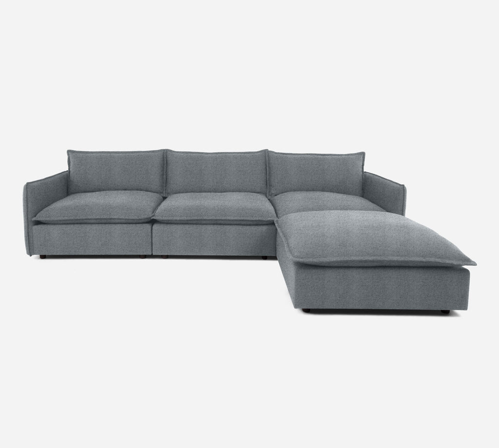 Lova 3 Seater Sectional w/ Ottoman - Theron - Haze