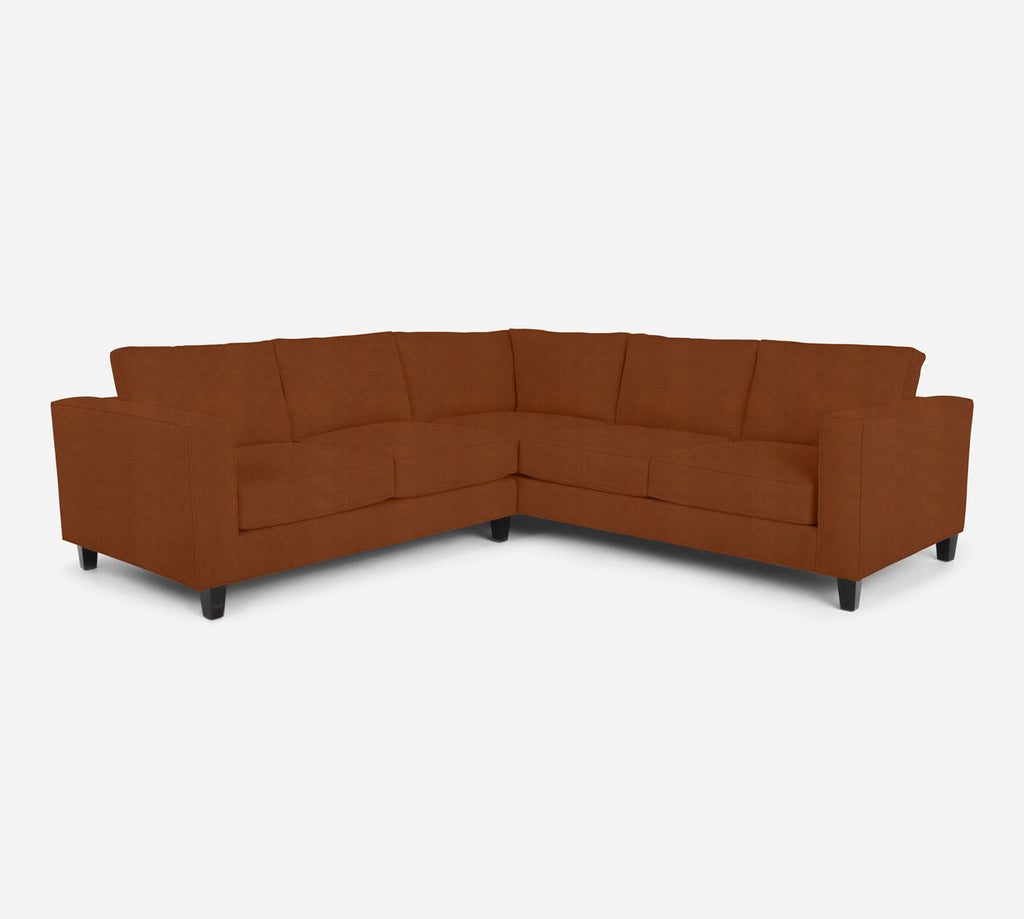 Remy LAF Corner Sectional - Passion Suede - Rust