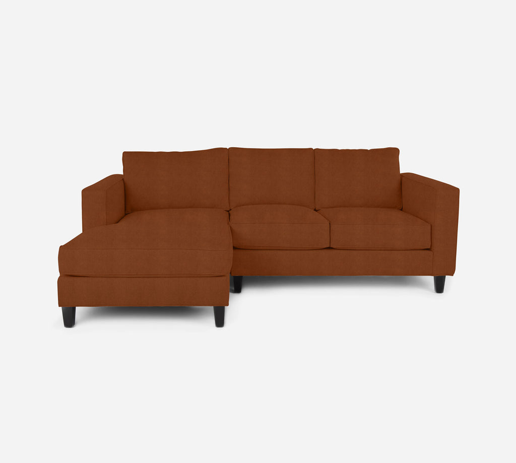 Remy Sectional Apartment Sofa w/ LAF Chaise - Passion Suede - Rust