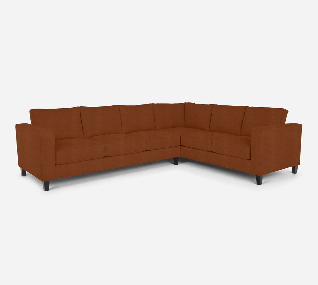 Remy LAF Large Corner Sectional - Passion Suede - Rust