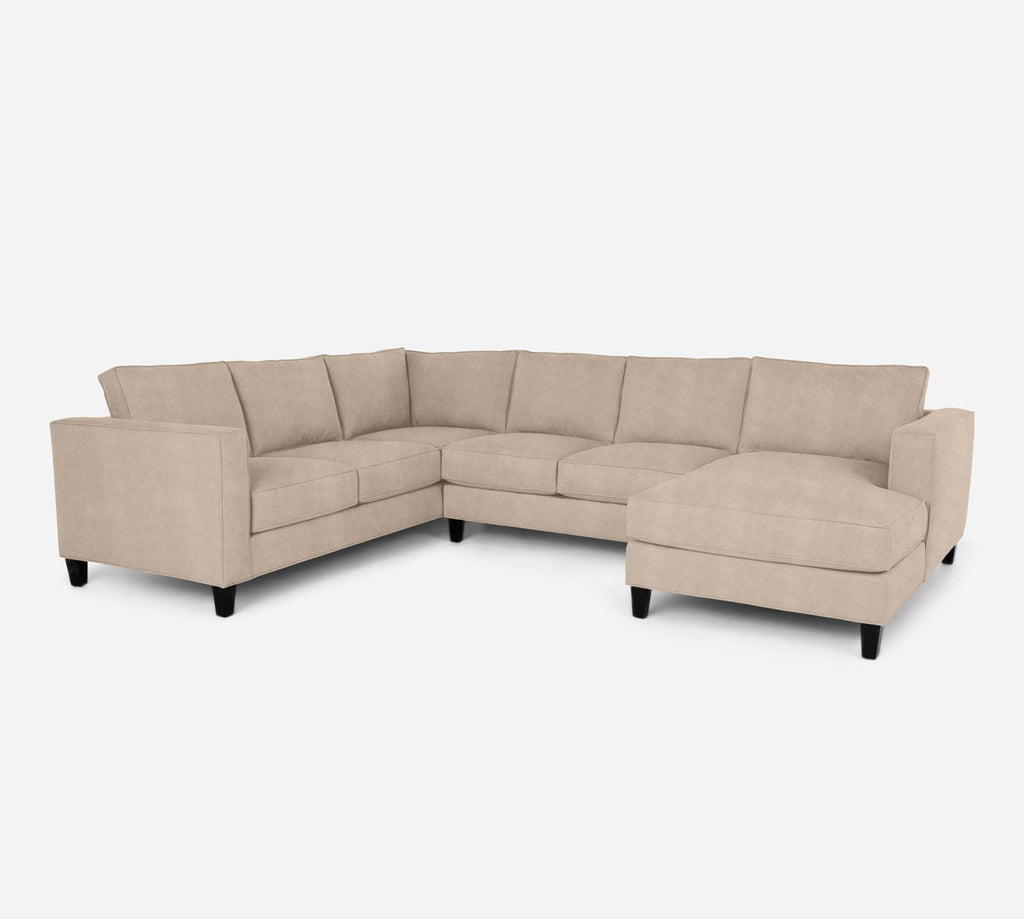 Remy RAF Chaise Corner Sectional - Passion Suede - Camel