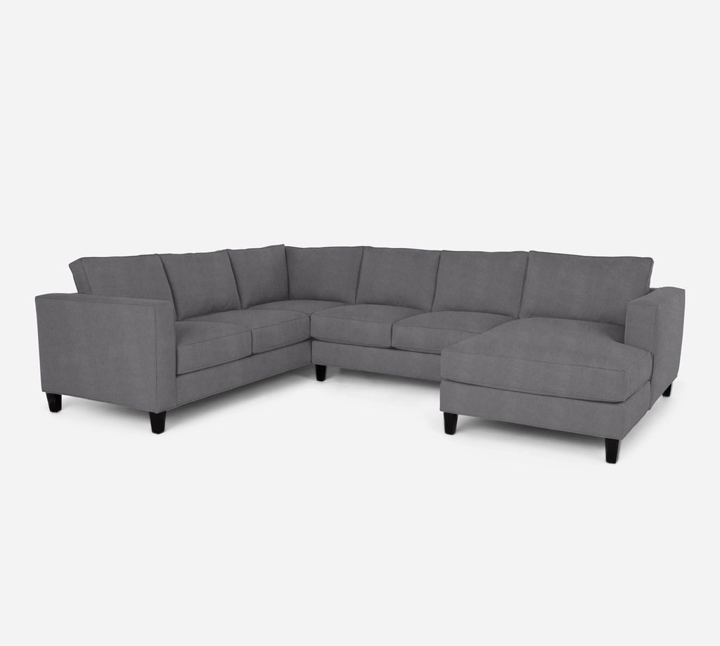 Remy RAF Chaise Corner Sectional - Passion Suede - Charcoal