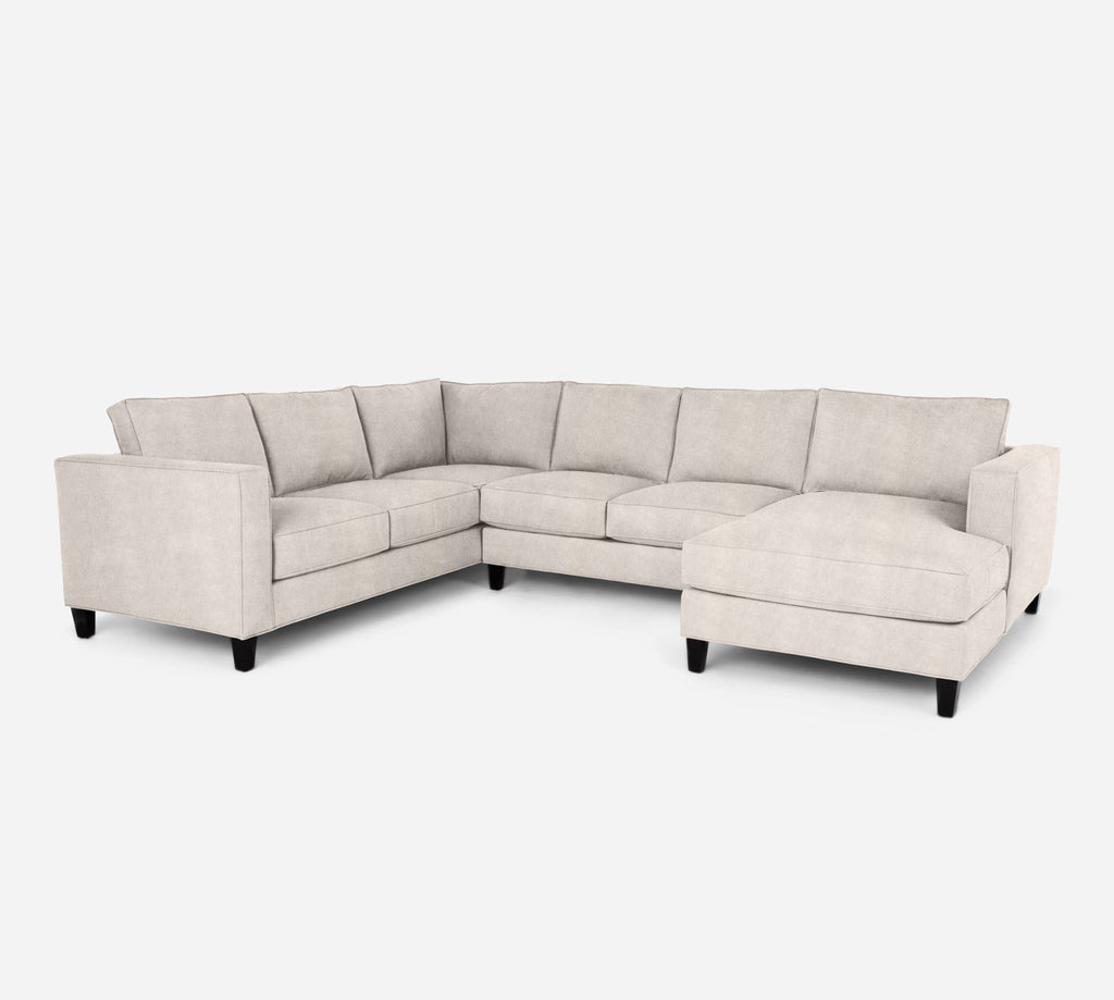Remy RAF Chaise Corner Sectional - Passion Suede - Oyster