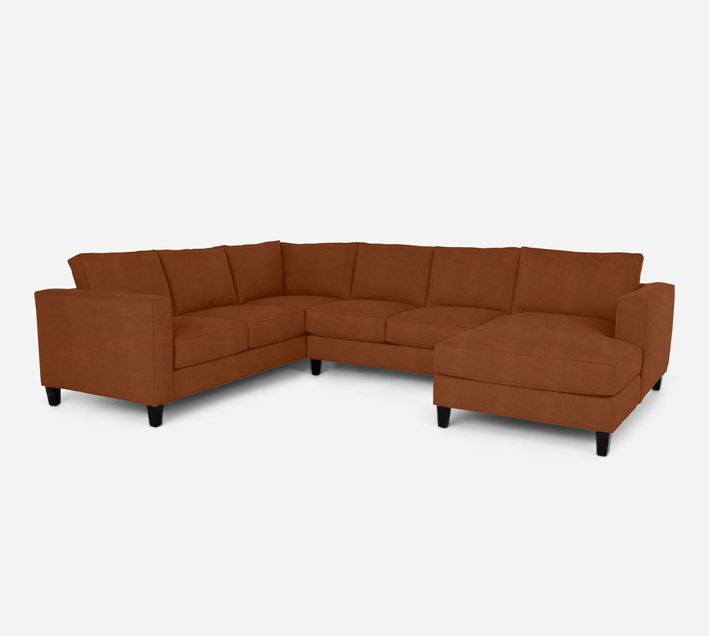 Remy RAF Chaise Corner Sectional - Passion Suede - Rust