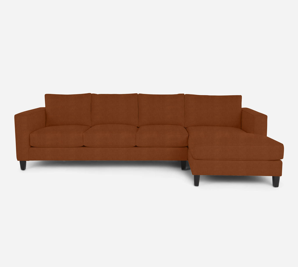 Remy RAF Chaise Sectional - Passion Suede - Rust