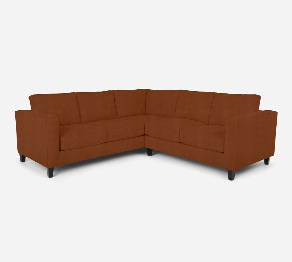 Remy RAF Corner Sectional - Passion Suede - Rust