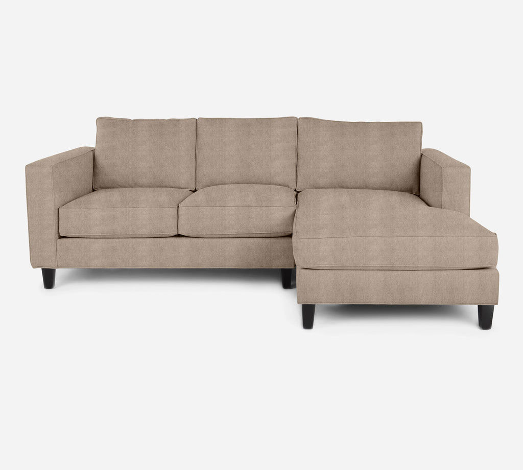 Remy Sectional Apartment Sofa w/ RAF Chaise - Passion Suede - Camel