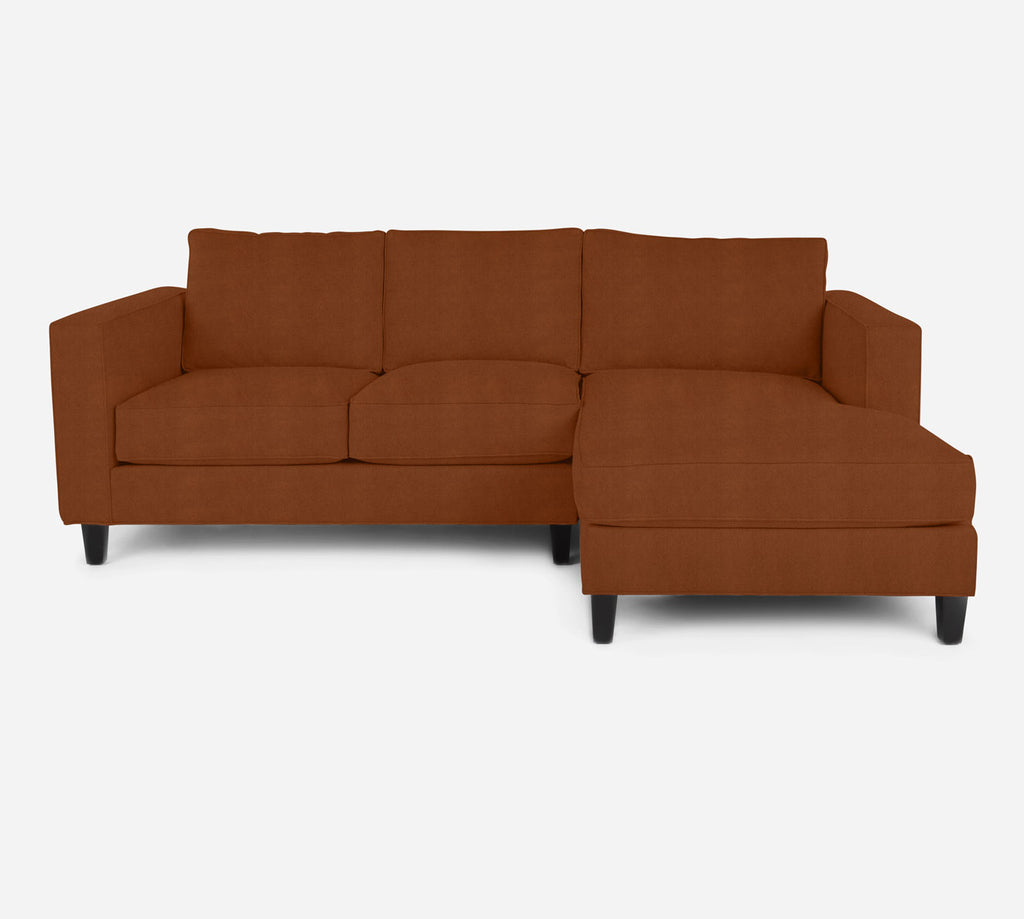 Remy Sectional Apartment Sofa w/ RAF Chaise - Passion Suede - Rust