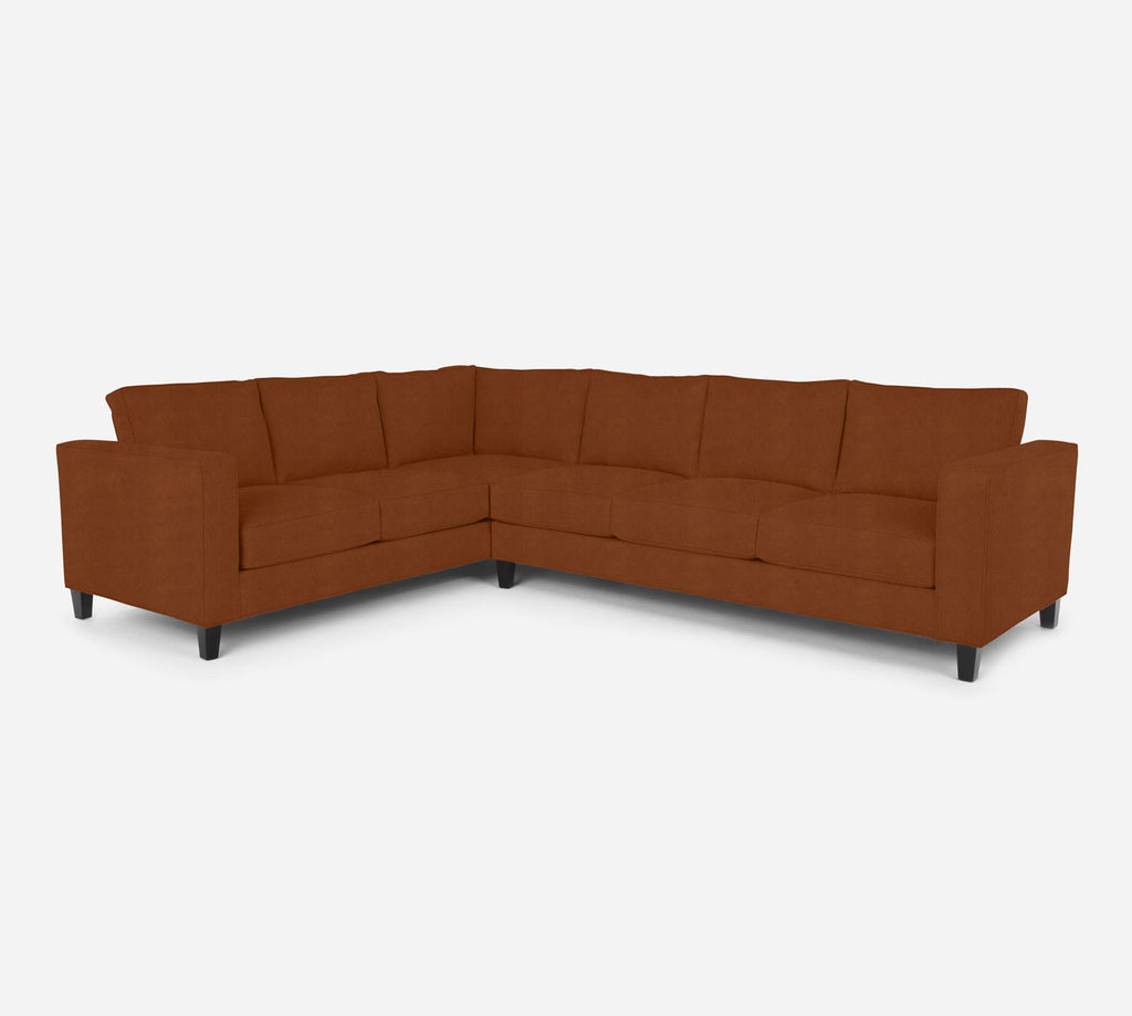 Remy RAF Large Corner Sectional - Passion Suede - Rust
