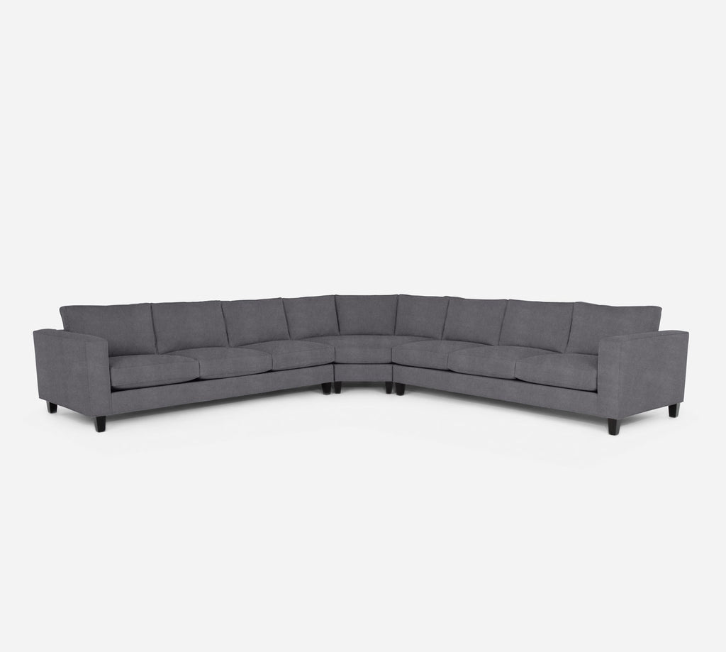 Remy Large Wedge Sectional - Passion Suede - Charcoal