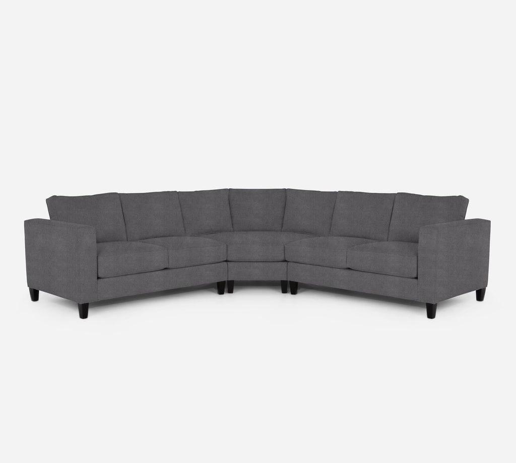 Remy Wedge Sectional - Passion Suede - Charcoal