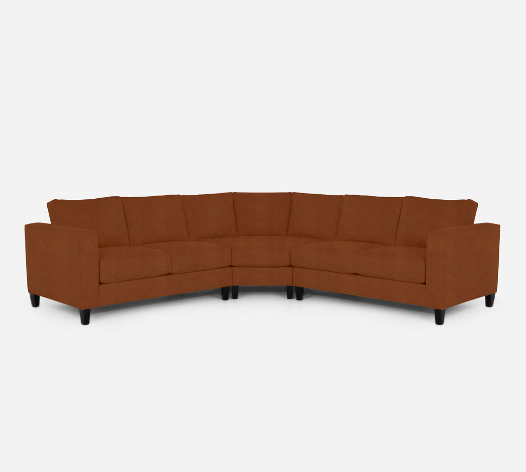Remy Wedge Sectional - Passion Suede - Rust