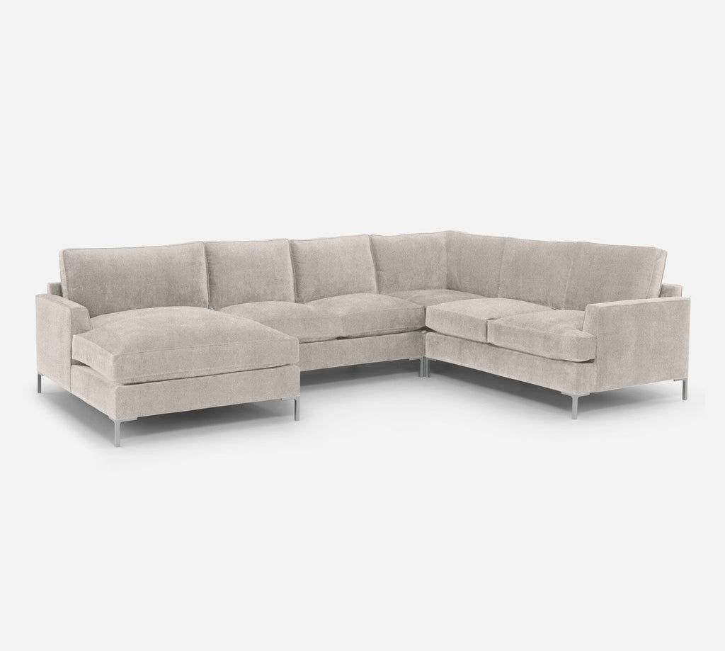Soho LAF Chaise Corner Sectional - Passion Suede - Oyster