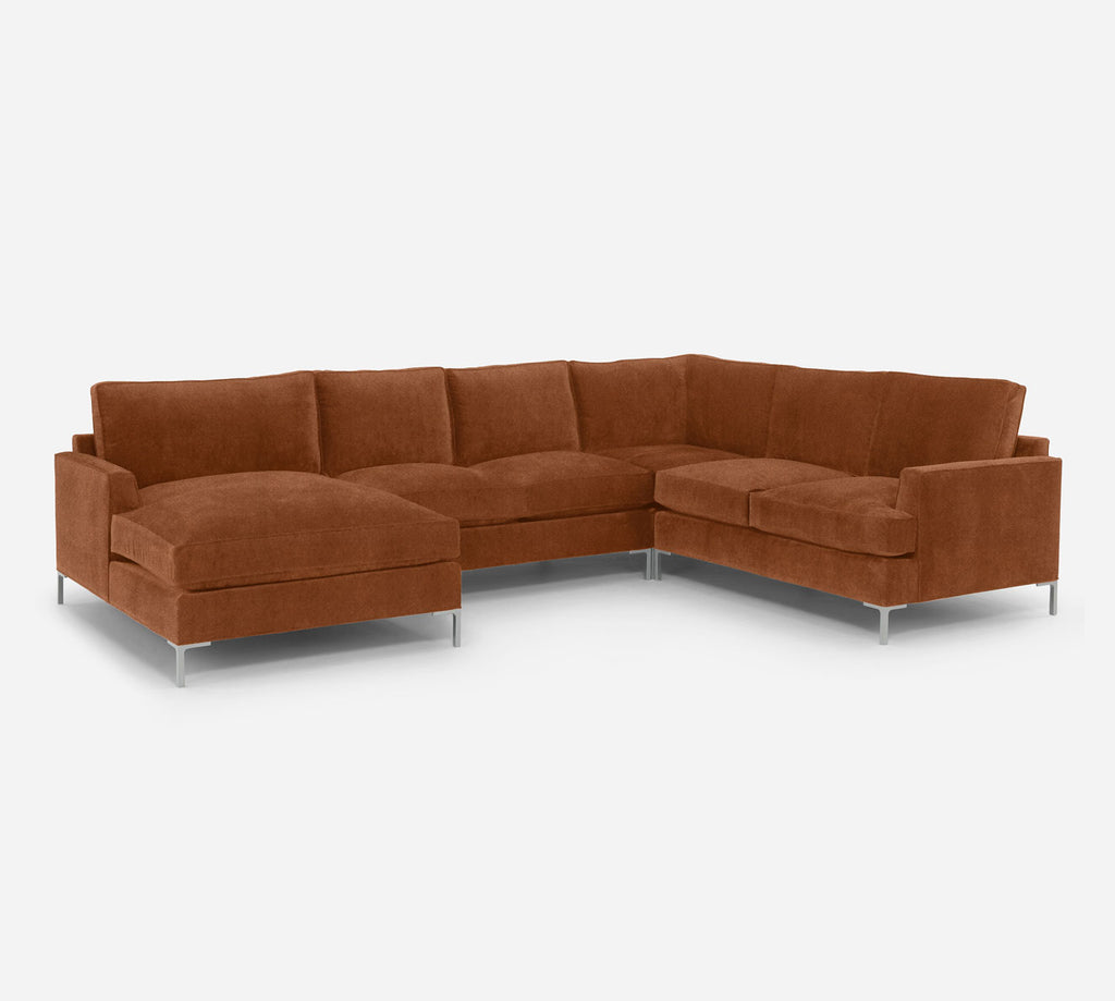 Soho LAF Chaise Corner Sectional - Passion Suede - Rust