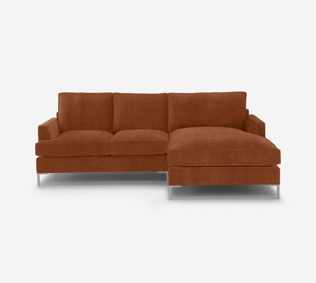 Soho LAF Sectional Apt Sofa w/ Chaise - Passion Suede - Rust