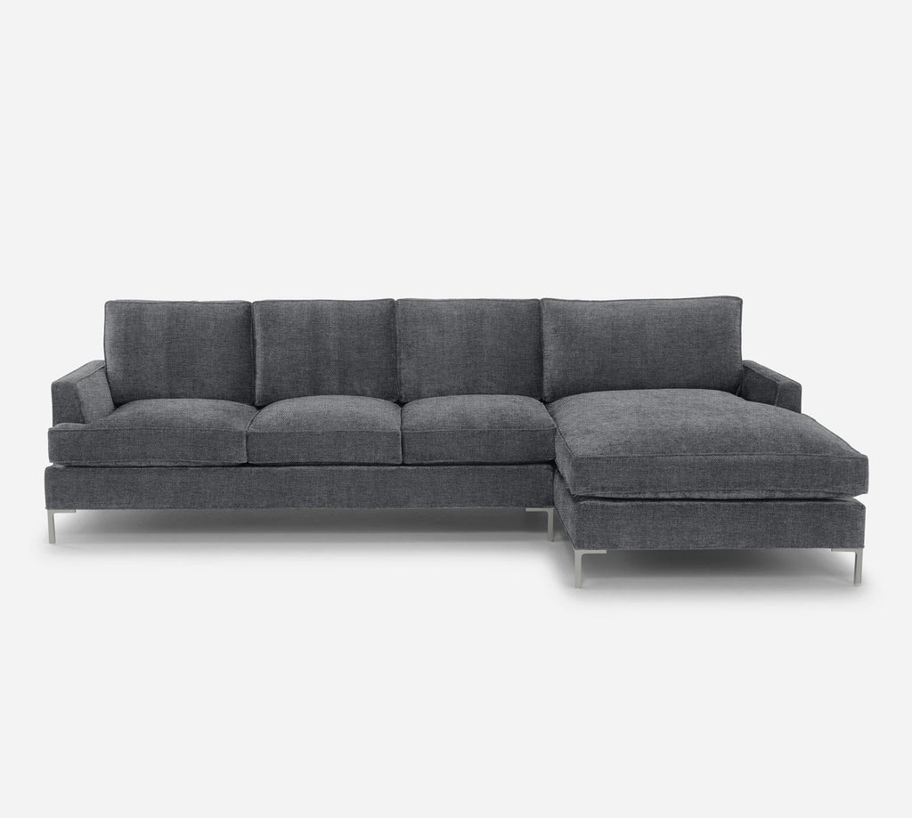 Soho LAF Sectional Sofa w/ Chaise - Coastal - Steel