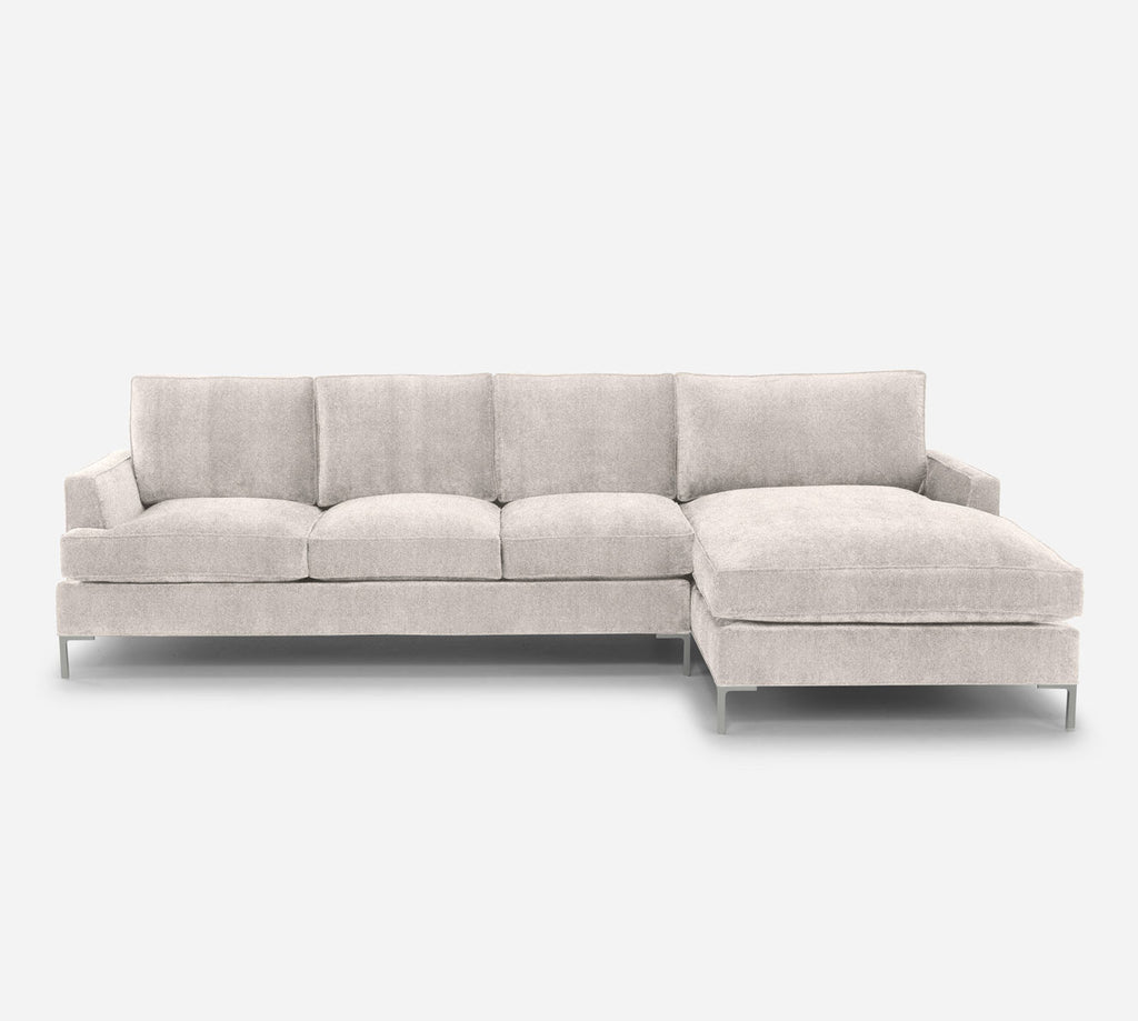 Soho LAF Sectional Sofa w/ Chaise - Passion Suede - Oyster