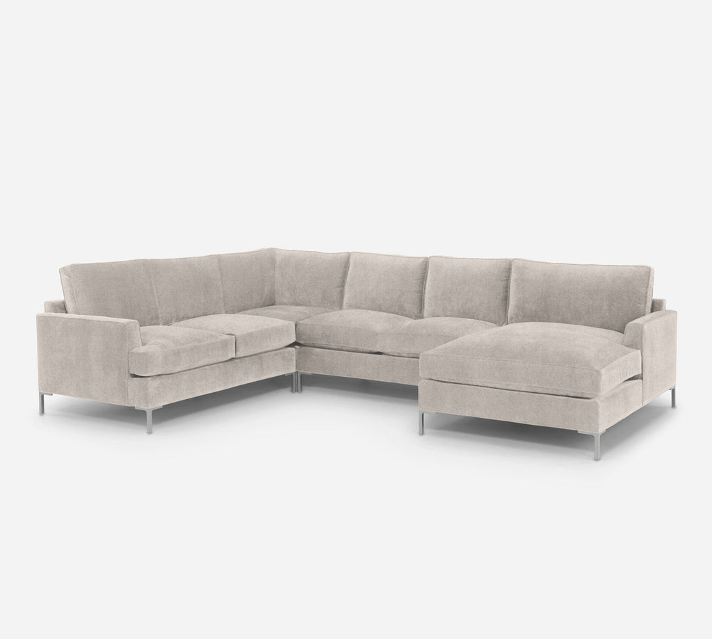 Soho RAF Chaise Corner Sectional - Passion Suede - Oyster