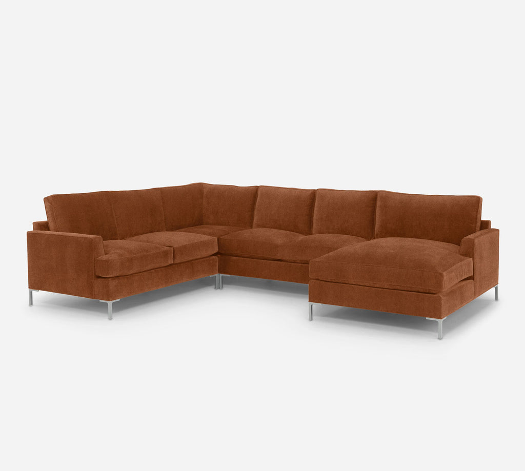 Soho RAF Chaise Corner Sectional - Passion Suede - Rust