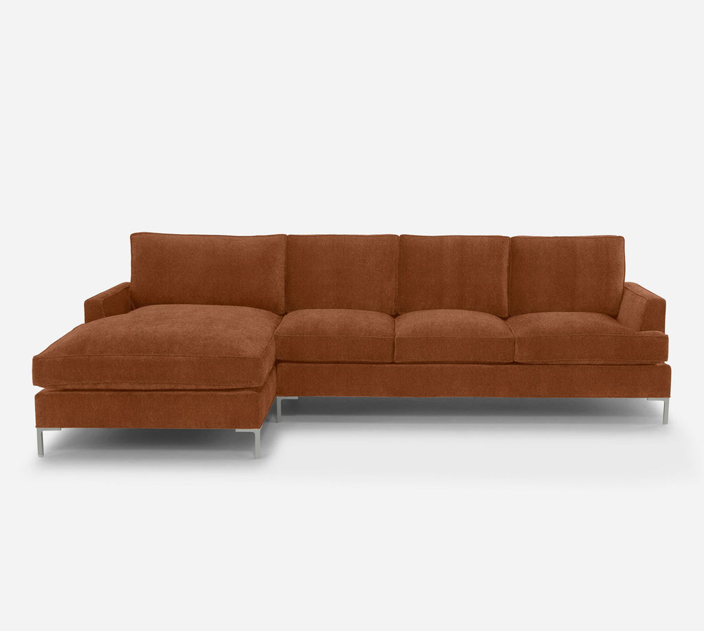 Soho RAF Sectional Sofa w/ Chaise - Passion Suede - Rust