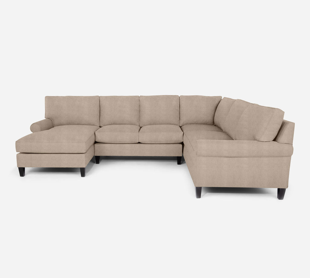 Soren LAF Chaise Corner Sectional - Passion Suede - Camel