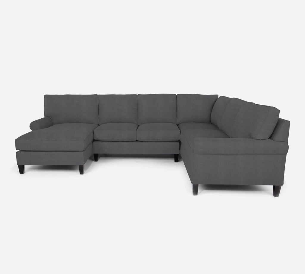 Soren LAF Chaise Corner Sectional - Passion Suede - Charcoal
