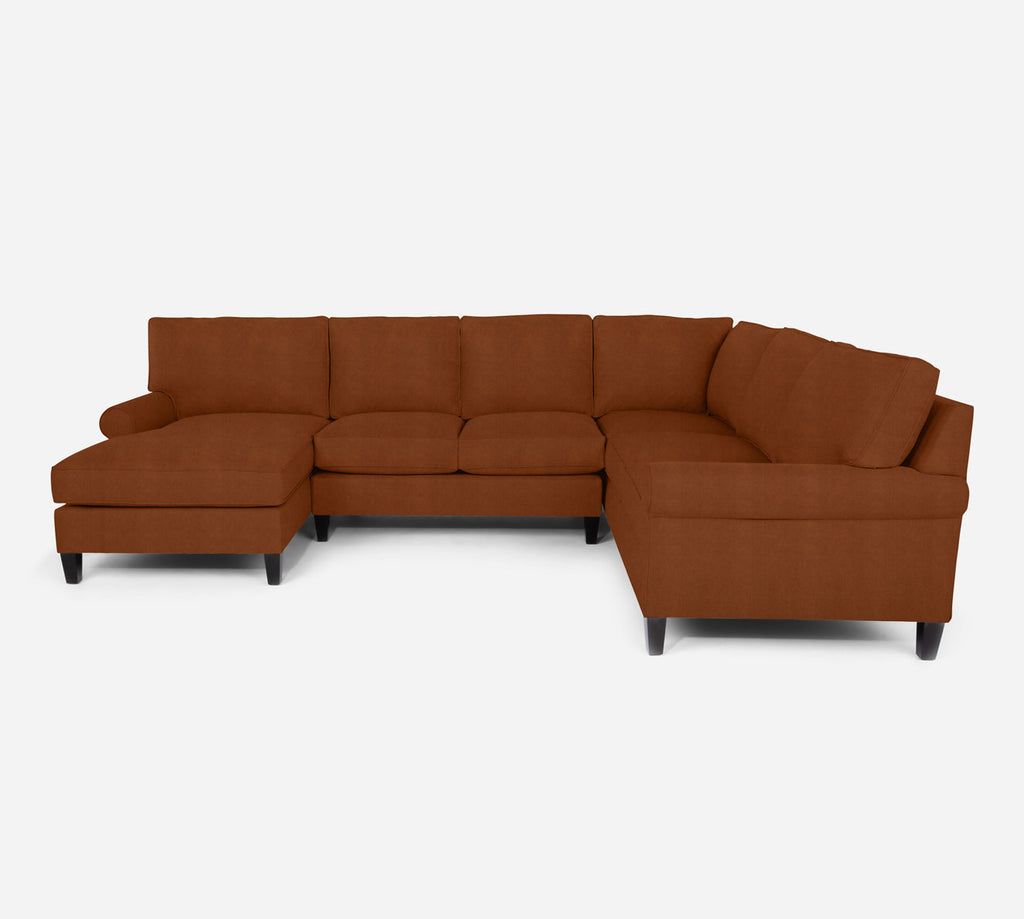Soren LAF Chaise Corner Sectional - Passion Suede - Rust