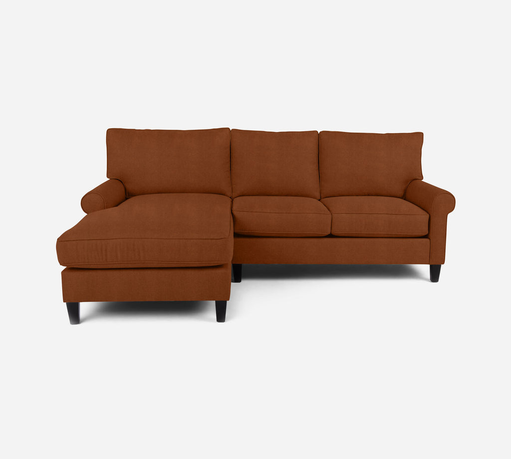 Soren Sectional Apartment Sofa w/ LAF Chaise - Passion Suede - Rust
