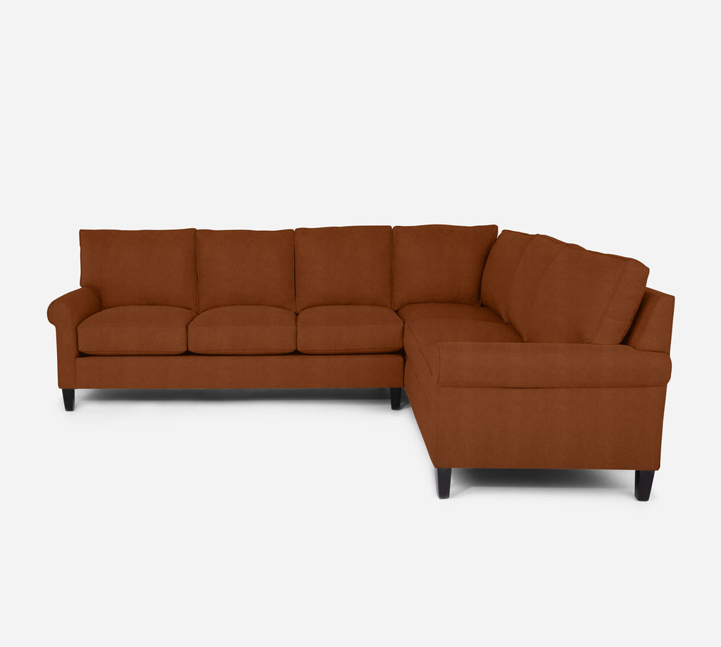 Soren LAF Large Corner Sectional - Passion Suede - Rust