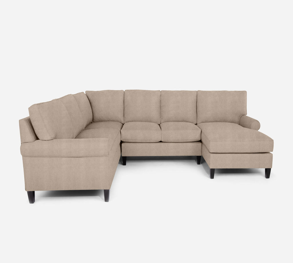 Soren RAF Chaise Corner Sectional - Passion Suede - Camel